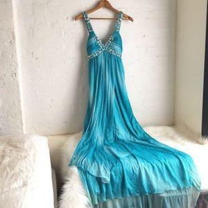 City Studio Juniors Blue Ombré Sparkly Prom Dress